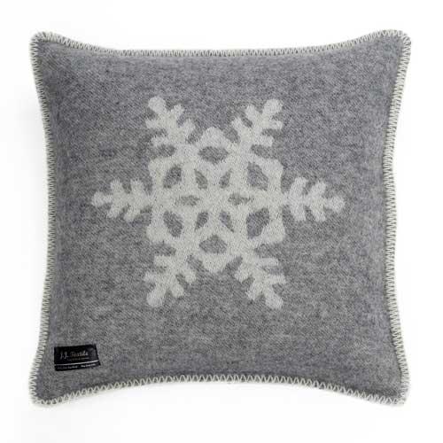 Snowflake Cushion Cover Grey