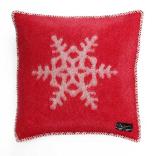 Snowflake Cushion Cover Red