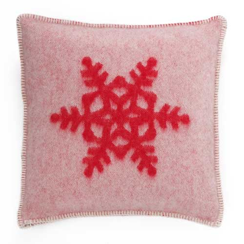 Snowflake Cushion Cover White & red