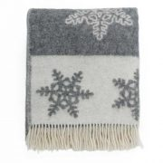 Pure Wool Throw - Grey Snowflake