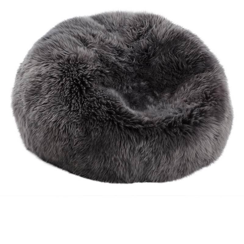 Bean Bag, Long-Wool Premium NZ Sheepskin_Steel