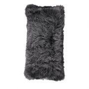 Cushion, Long-Wool NZ Sheepskin, size- 28x56 cm_Steel