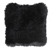 Cushion, Long-Wool NZ Sheepskin, size- 50x50 cm_Black
