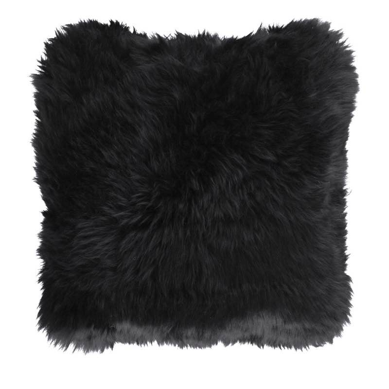 Cushion, Long-Wool NZ Sheepskin, size- 50×50 cm_Black
