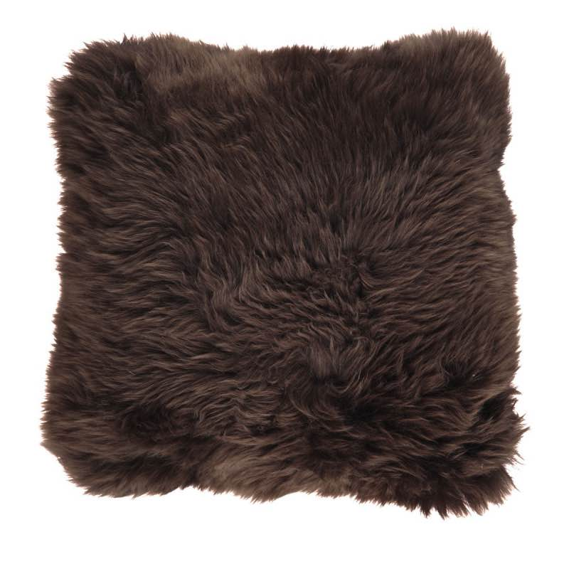 Cushion, Long-Wool NZ Sheepskin, size- 50×50 cm_Chocolate