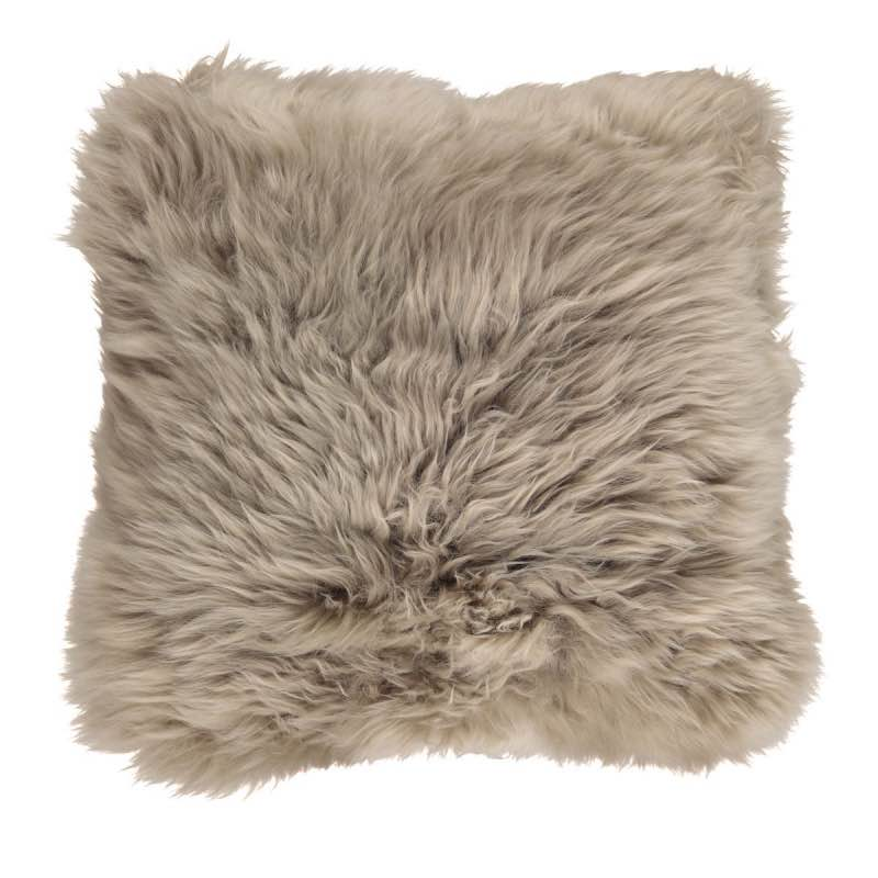 Cushion, Long-Wool NZ Sheepskin, size- 50×50 cm_Taupe