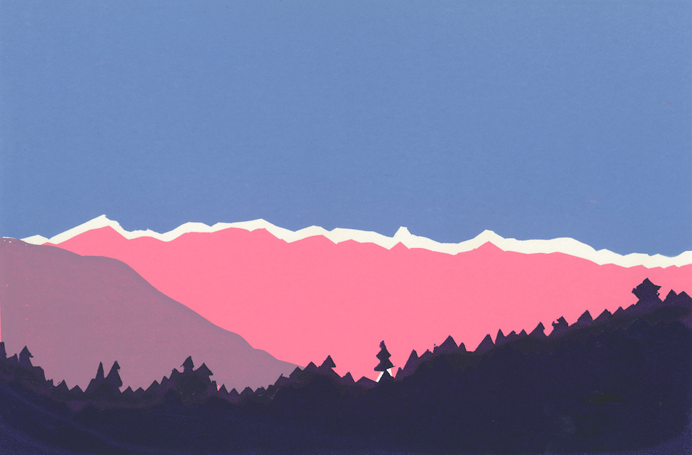 Mountains and Trees silkscreen
