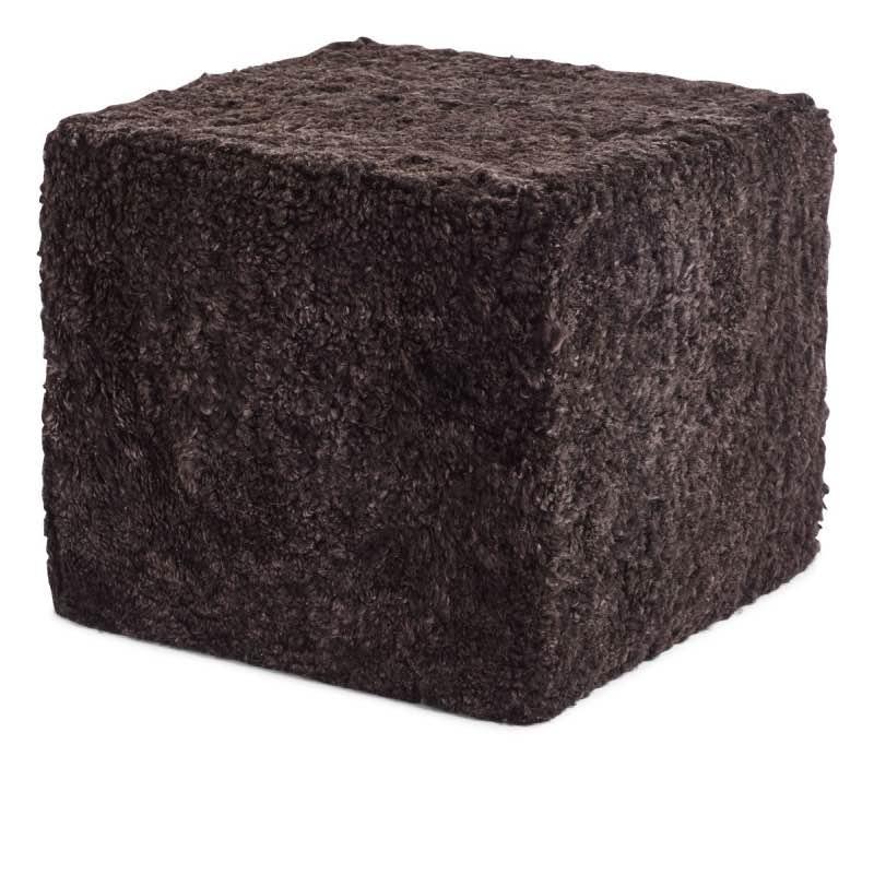 Pouf of NZ Short-wool curly Sheepskin, 'Square', 40x40x35 cm_Cappuccino