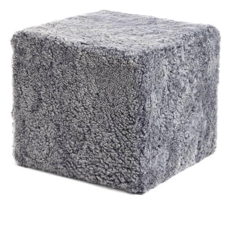 Pouf of NZ Short-wool curly Sheepskin, 'Square', 40x40x35 cm_Lightgrey
