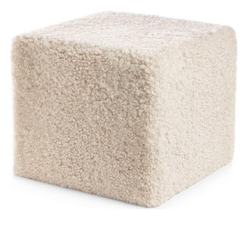 Pouf of NZ Short-wool curly Sheepskin, 'Square', 40x40x35 cm_Pearl
