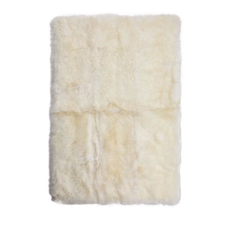 Rug of Premium Quality Sheepskin, Long-Wool,Ivory