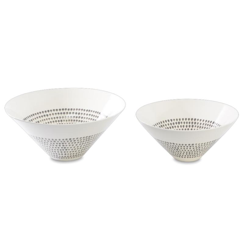 Grey Drop Serving Bowls Medium & Large