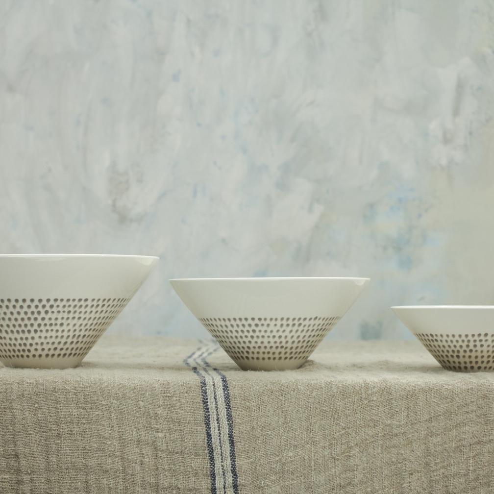 Grey Drop Serving Bowls