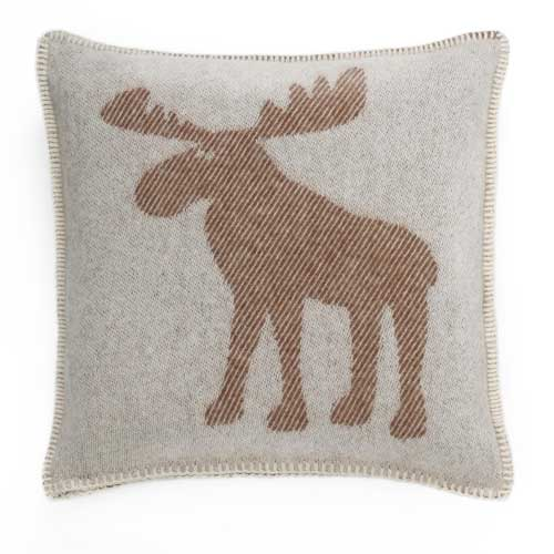 Moose Cushion Cover – White & Brown