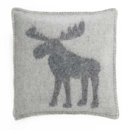 Moose Cushion Cover - White & Grey