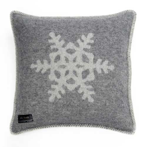 Snowflake Cushion Cover Grey