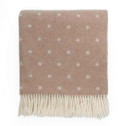 Pure Wool Throw – Pink Spotty