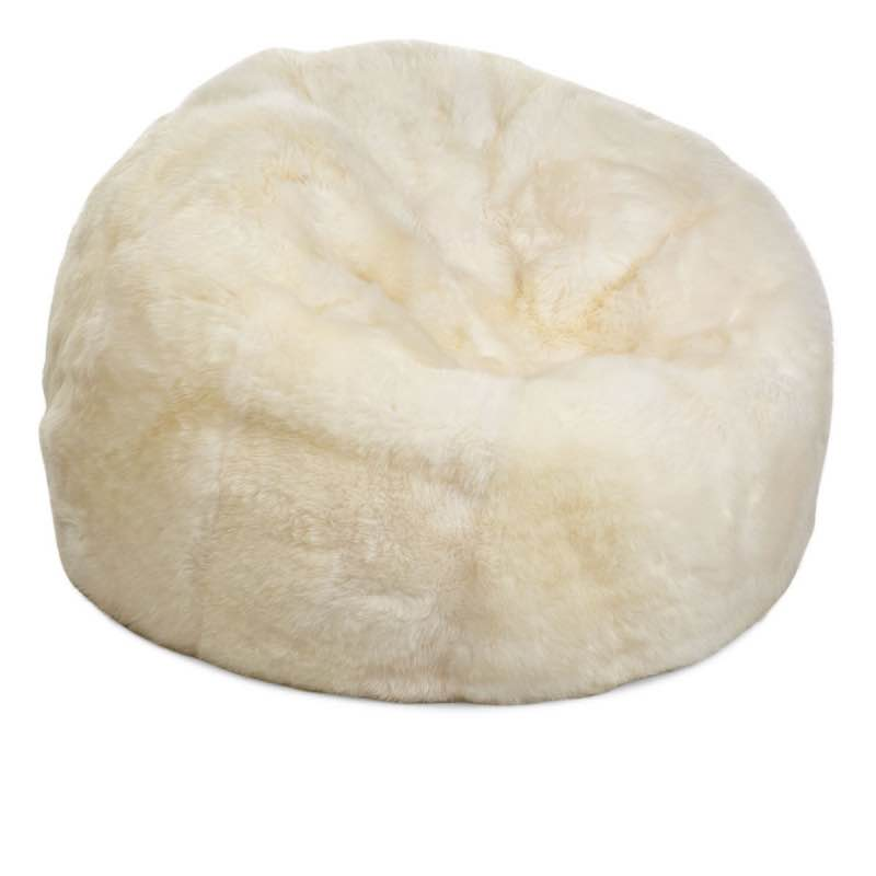 Bean Bag, Long-Wool Premium NZ Sheepskin,Ivory