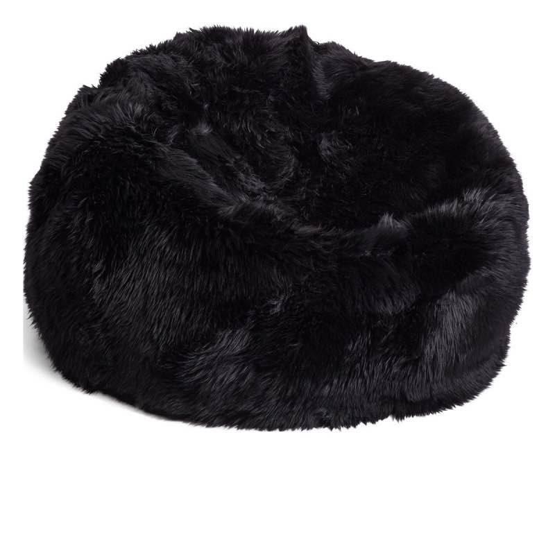 Bean Bag, Long-Wool Premium NZ Sheepskin_Black