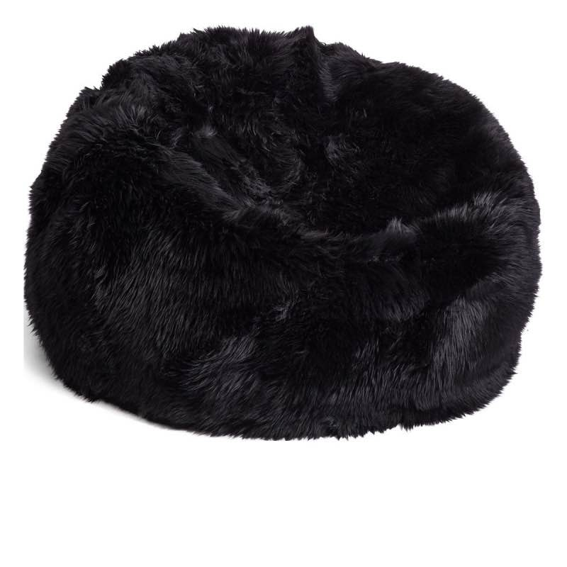 Bean Bag, Long-Wool Premium NZ Sheepskin_Black