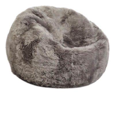 Bean Bag, Long-Wool Premium NZ Sheepskin_Lightgrey