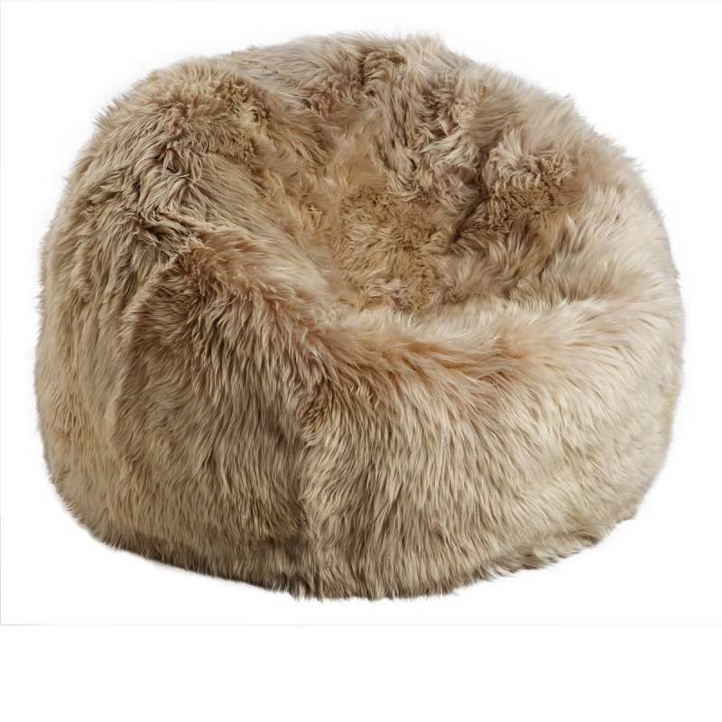 Bean Bag, Long-Wool Premium NZ Sheepskin_Linen