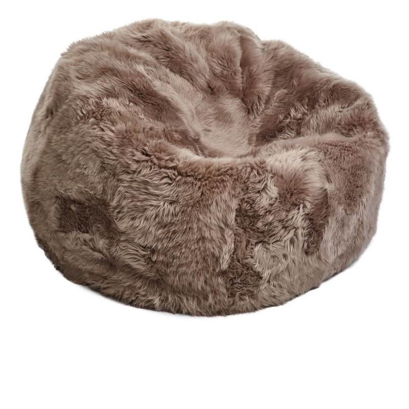 Bean Bag, Long-Wool Premium NZ Sheepskin_Taupe