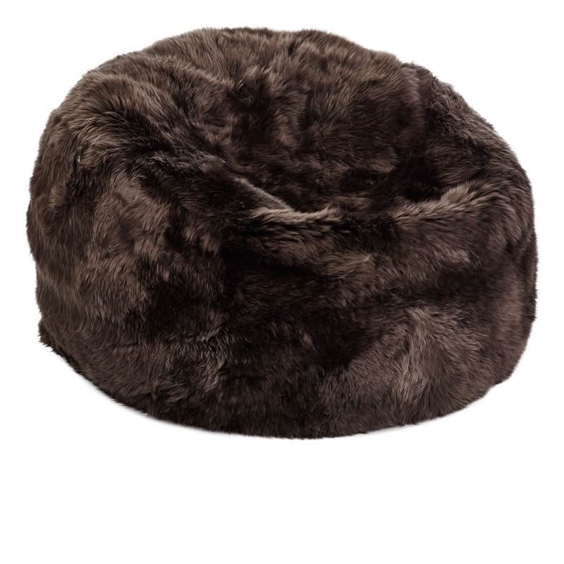 Bean Bag, Long-Wool Premium NZ Sheepskin,chocolate