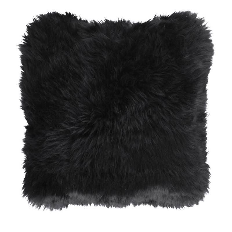 Cushion, Long-Wool NZ Sheepskin, size- 50×50 cm_Black