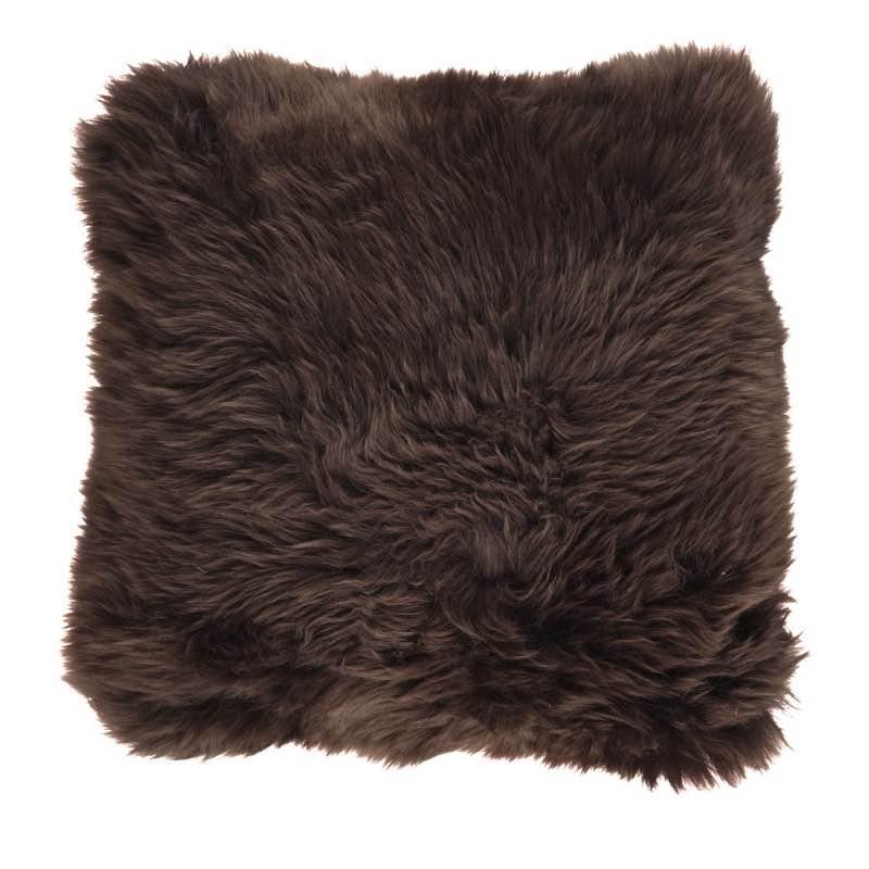 Cushion, Long-Wool NZ Sheepskin, size- 50×50 cm_Chocolate