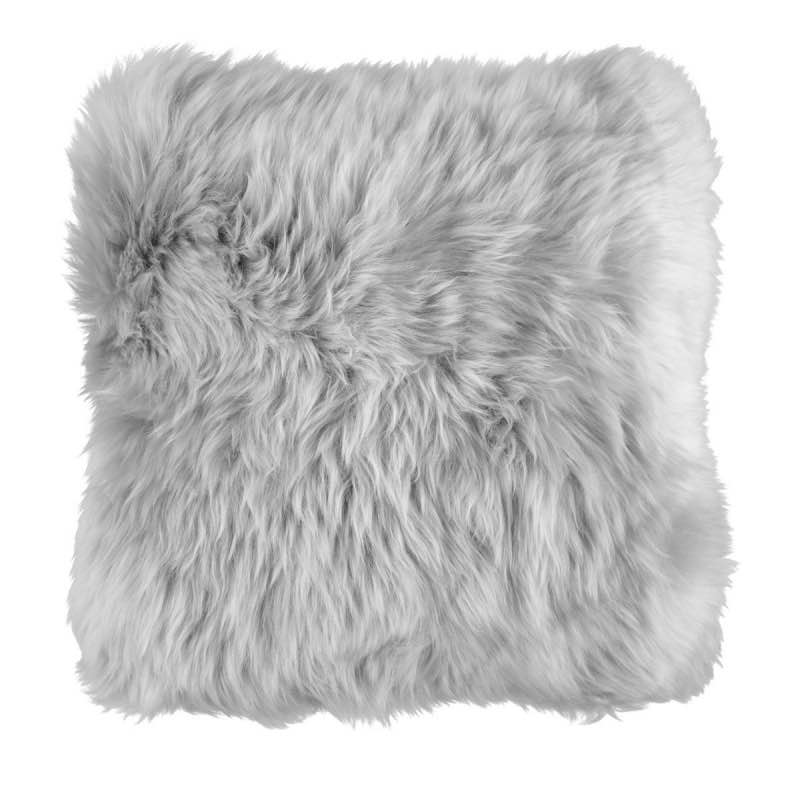 Cushion, Long-Wool NZ Sheepskin, size- 50×50 cm_Lightgrey