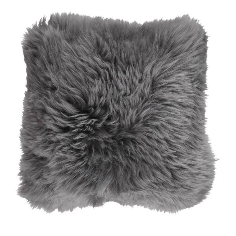 Cushion, Long-Wool NZ Sheepskin, size- 50×50 cm_Steel