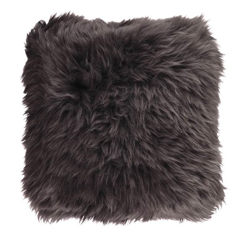 Cushion, Long-Wool NZ Sheepskin, size- 50×50 cm_walnut