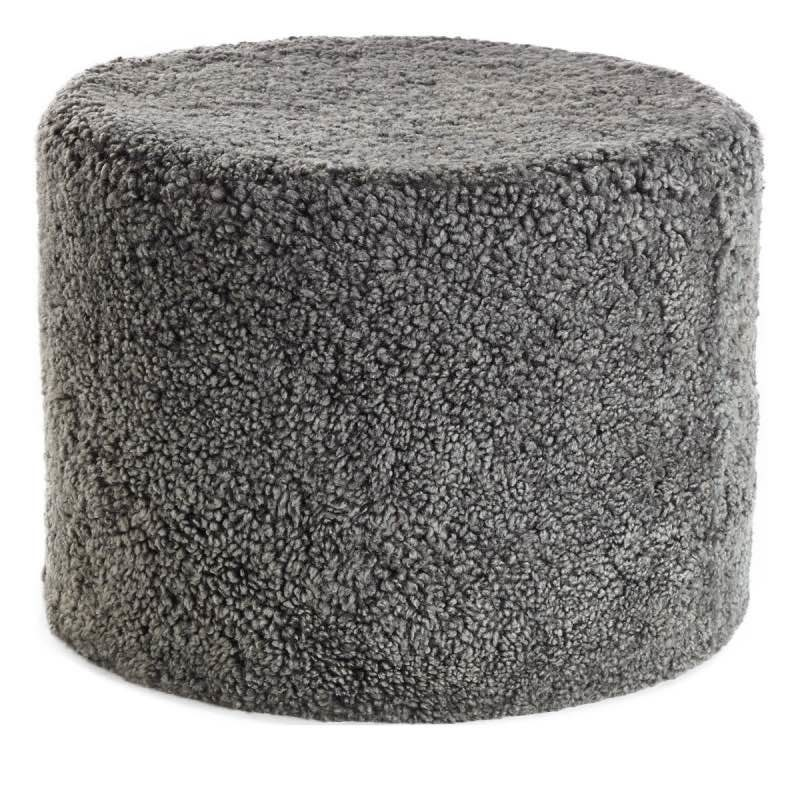 Pouf of NZ Short-wool curly Sheepskin, 'Cylinder', 41×31 cm-Graphite