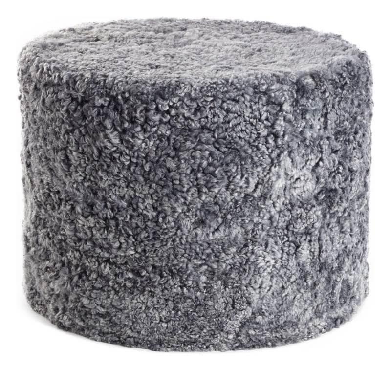 Pouf of NZ Short-wool curly Sheepskin, 'Cylinder', 41×31 cm, lightgrey