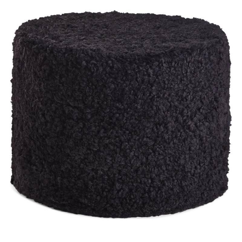 Pouf of NZ Short-wool curly Sheepskin, 'Cylinder', 41×31 cm_Black
