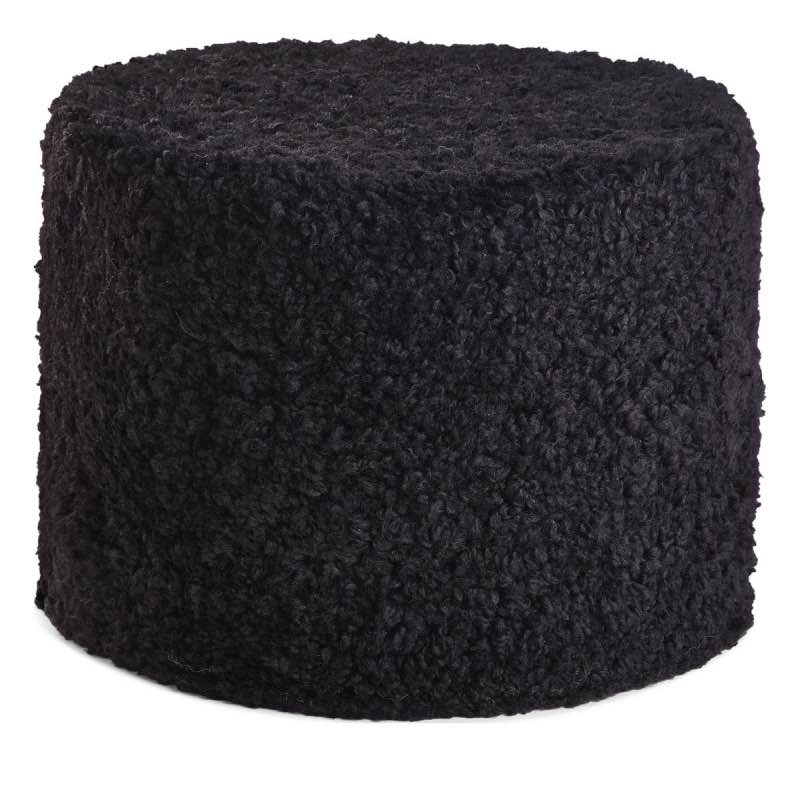 Pouf of NZ Short-wool curly Sheepskin, 'Cylinder', 41×31 cm_Black