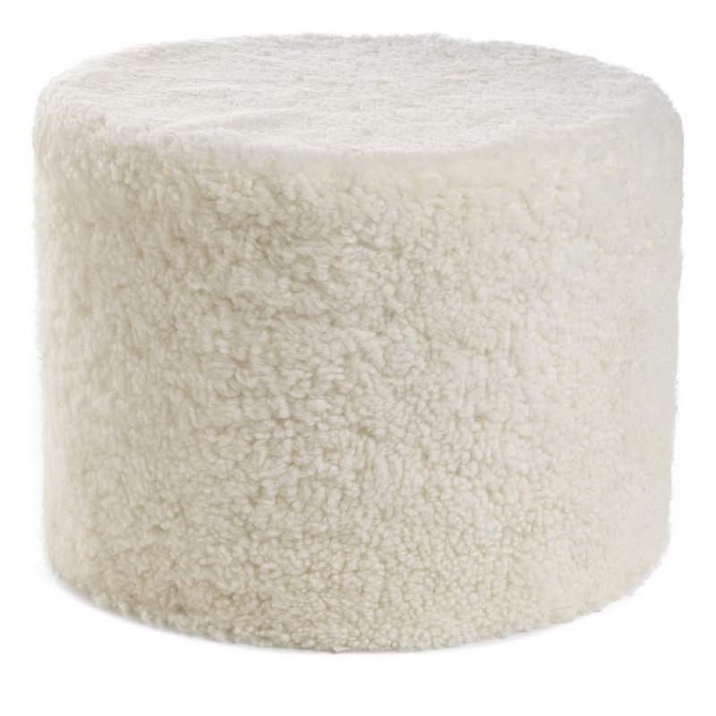 Pouf of NZ Short-wool curly Sheepskin, 'Cylinder', 41×31 cm_Ivory