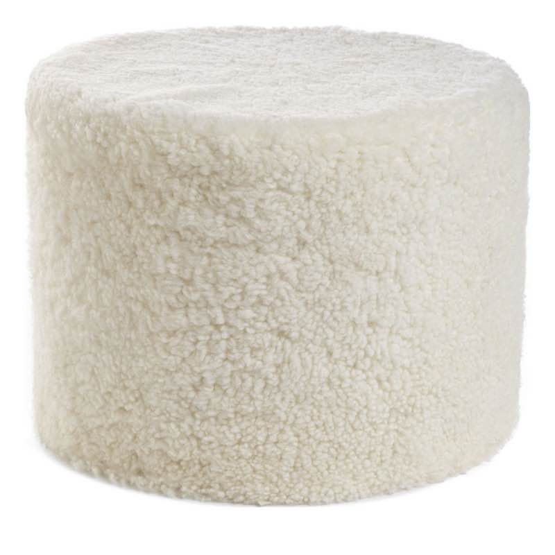 Pouf of NZ Short-wool curly Sheepskin, 'Cylinder', 41×31 cm_Ivory