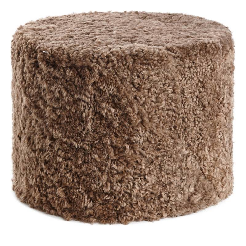 Pouf of NZ Short-wool curly Sheepskin, 'Cylinder', 41×31 cm_taupe