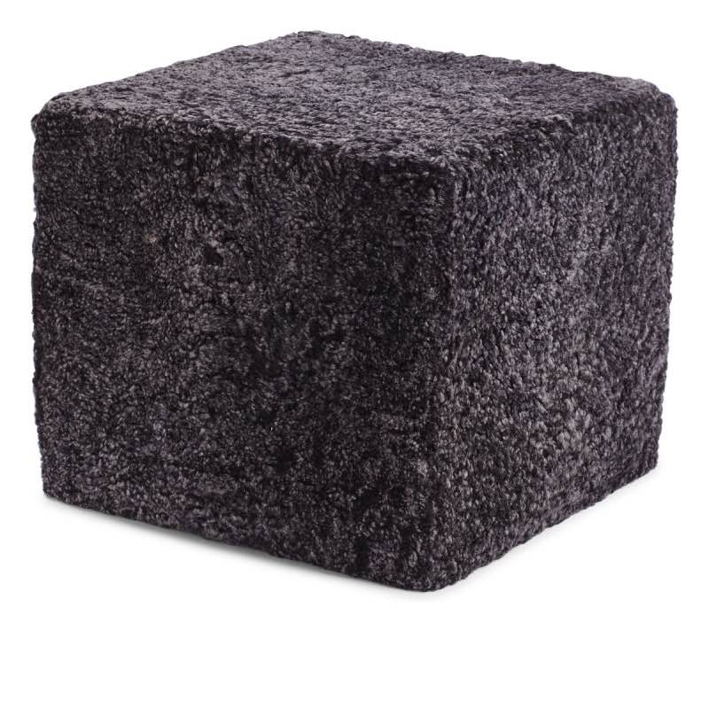 Pouf of NZ Short-wool curly Sheepskin, 'Square', 40x40x35 cm_Anthracite