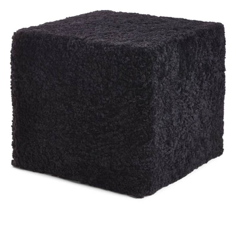 Pouf of NZ Short-wool curly Sheepskin, 'Square', 40x40x35 cm_Black